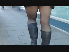 Black tights and mini skirt