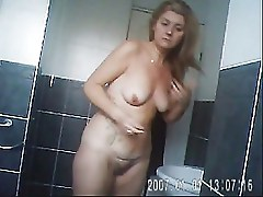 SarahD in bathroom flashing off my body