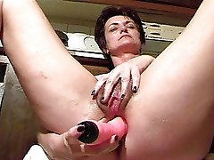 Short haired mom masturbating pussy and ass with dildo