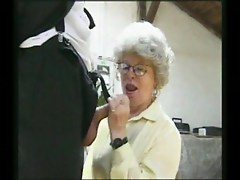 Horny grandma fucking security agent
