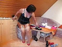Chubby mature with pantyhose under stockings