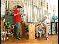Blonde Chubby Granny in Stockings Gets what she Wants
