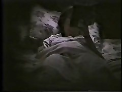 My mom masturbating on bed during night time