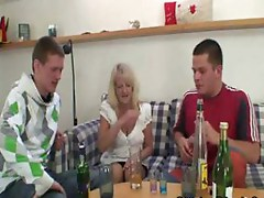 Drunk granny partying with friends of her daughter