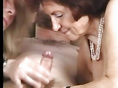 Granny in Stockings Gets some Help